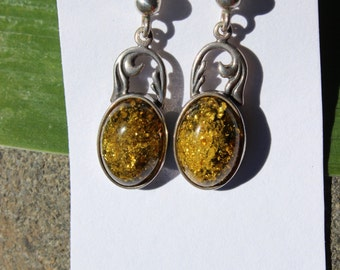 Baltic Amber Earrings Sterling Silver Vintage