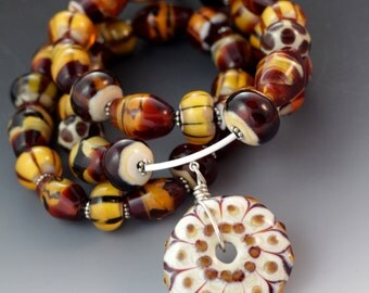 Beautiful Fall Brown Topaz Ivory Lampworking Beaded Glass Necklace