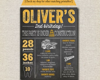 Construction Chalkboard Birthday Poster Sign, first 1st birthday, second 2nd birthday, custom, digital, printable, memory milestones