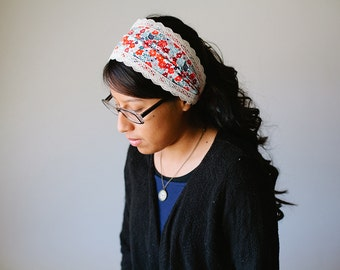 Red Blooms - Wide Headband/Headcovering for Women | Blue & Pink 2 in 1 Convertible Headcovering