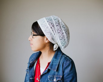 Cream Lace Snood Headcovering | Women's Headcovering Veil