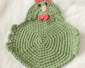 Chicken Rooster Crochet Potholder--Made To Order--Trivet, Hot Pad, Pot Holder, Dishcloth, Kitchen Chicken, Swanky Chicken, Rooster