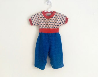 1970s baby boys retro hipster geometric romper / jumper / playsuit by health tex