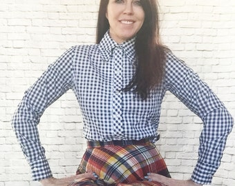 Vintage 70s Navy White Gingham Plaid Top Blouse S M Pointed Collar Long Sleeve