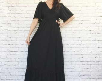 Vintage 70s Black Macrame Trim Bell Sleeve Maxi Dress Side Ties Ruffled Goth Bohemian Stevie Nicks