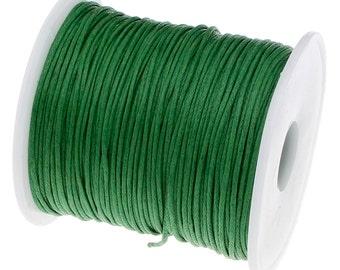 Waxed Cord : 10 yards (30 feet) Kelly Green 1mm Waxed Cotton Cord | Bracelet Cord | Macrame Cord | Knotting Cord | Shamballa Cord 90701-32