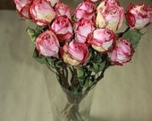 15 Natural Dry Roses - Natural Color - Roses for Weddings-Luck-Love-Romance and all other Matters of the Heart - Pink Roses - Dried Flowers