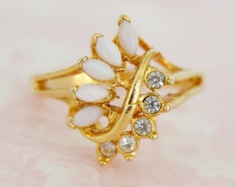 Vintage Clear Rhinestone and Faux Opal Ring by Uncas Size 9