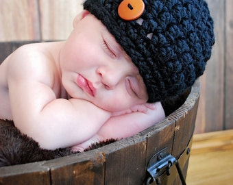 Chunky Hat/Beanie Hat/Black Hat (0-2 months)