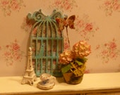 Miniature Shabby Chic Birdhouse Wall Art for Dollhouse