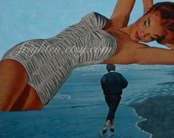 One of a Kind Mixed Media Collage, Paper Collage, Surreal Art, Summer, Ocean, Amazon Woman, Man Cave Art, Pin up
