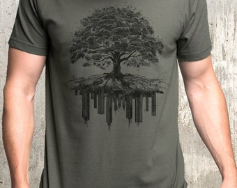 Men's Tree and Crumbling City T-Shirt - Men's Graphic Tee - Screen Printed American Apparel T-Shirt