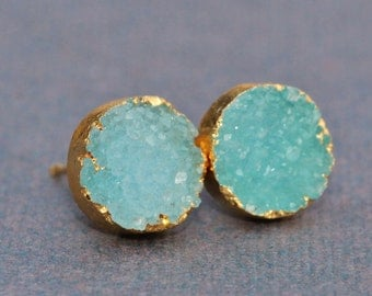 Ocean Aqua Blue Genuine Druzy Earrings,Druzy Drusy Cabochon,Gold Dipped Druzy,Post Earrings,Turquoise Aqua,Gemstone Earrings,Unique,Nature