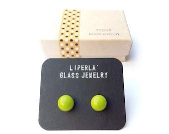 Green Stud earrings, pea green glass stud earrings, pea fused glass earring studs, small green studs