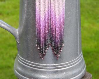 Long Seed Bead Earrings - Beaded Hematite and Pink Earrings - Ombre Fringe Earrings - 4.75 Inch Long Dangle Earrings