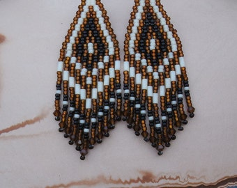 Brown Black and Cream Seed Bead Earrings - Beadwork Earrings - Beaded Lightweight Earrings - Fringe Chandelier Style - 3 Inch Long
