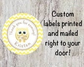 Baby Shower Printed Yellow Owl Round Party Thank You Stickers for Party Favors - Adorable Owl Chevron Labels  ***DISCOUNTS AVAILABLE***