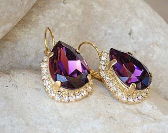 Purple Earrings, Purple Swarovski Earrings, Teardrop Earrings, Purple Drop Earrings, Plum Crystal Earrings Bridesmaids Earrings Gift for Her