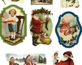 """Large Stickers (each sticker 2.5""""x3.5"""", pack 8 stickers) Scrapbooking Craft Vintage # Santa and Children FLONZ 138"""