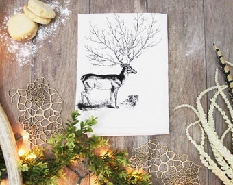 Winter Deer Tree Antler Cotton Flour Sack Tea Towel - Woodland Dish Towel