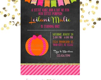 Pumpkin Invitation, Chalkboard Birthday Invitation,  Printed Invitation, Baby Shower Invite, Pumpkin Birthday, 1st Birthday, Pumpkin Invite