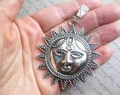 1 Sun Face Boho Pendant in Silver Tone - C2491