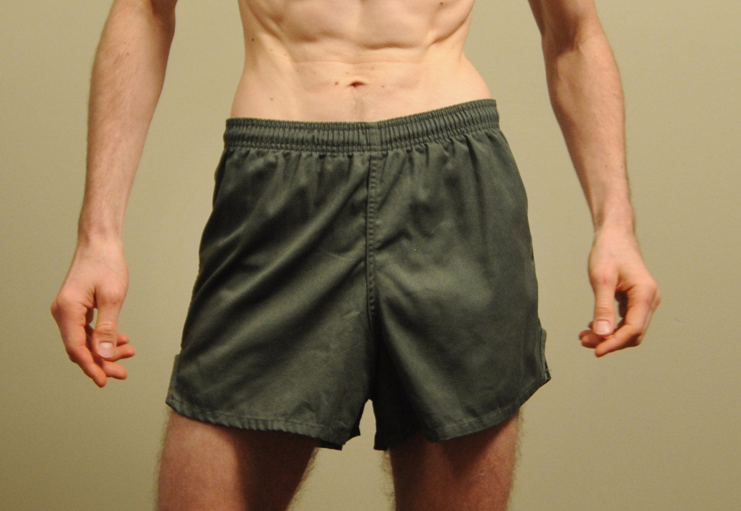 Mens Vintage 70s 80s Army Gym Short Olive Drab Green Military