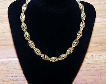 Crown Trifari Necklace Gold Tone Filigree Choker Vintage Wedding Jewelry Jewellery Bridal Party Prom Gift Guide Women
