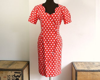Vintage 80s Red Polka Dot Wiggle Dress with Sweetheart Neckline - 50s Style Rockabilly Fitted Dress - Minnie Mouse Pin Up