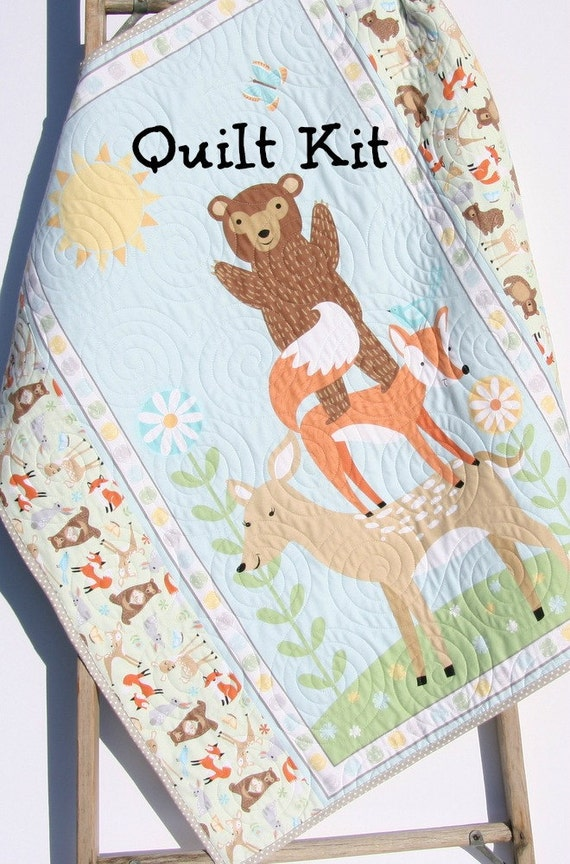 Quilt Kit Flannel Baby Blanket Panel Quick Easy Woodland