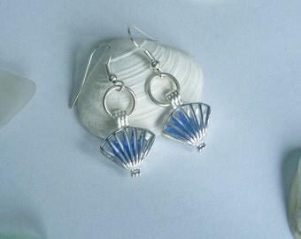 Shell earrings - blue sea glass earrings - beach glass locket earrings.