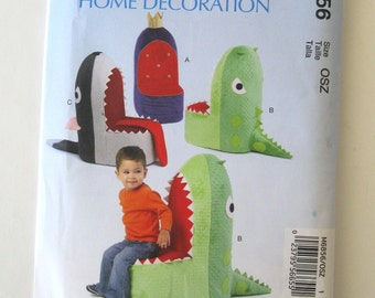 Childrens Chair Seat Throne Pattern McCalls M6856 Kids Playroom Furniture Sewing Craft Pattern Shark Whale Throne Toy UNCUT