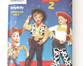 2000 Disney Character Costume Pattern Simplicity 9433 Toy Story 2 Girls Boys Woody and Jessie Western Costume Sewing Pattern Sizes 3 4 5