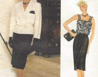 80s Guy Laroche Womens Hip Length Jacket, Skirt & Camisole Vogue Sewing Pattern 1529 Size 14 Bust 36 UnCut Vogue Paris Original Patterns