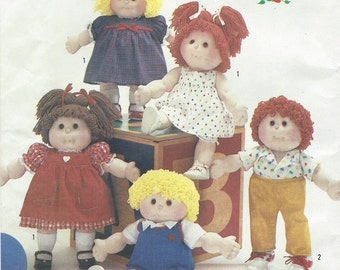 1980s Linda Novick 18 Inch Soft Sculpture Dolls and Clothes Simplicity Sewing Pattern 6999 UnCut Boy and Girl Dolls Precious Pals