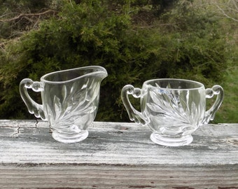 Cream and Sugar Set Glass Creamer and Sugar Dishes Dish Vintage Glass