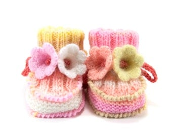 Hand Knitted Baby Booties with Crochet Bell Flowers - Peach, Pink and Yellow,  3 - 6 months