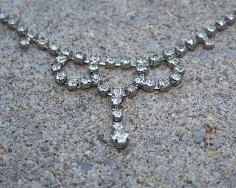 Vintage Rhinestone Necklace _ 15 in. Choker _ Simple Pretty Jewelry