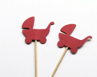 24 Red Baby Carriage Party Picks, Food Picks, Cupcake Toppers