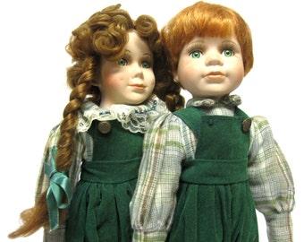 Brother Sister Porcelain Dolls Vintage Victorian Style Twin Boy Girl Dolls