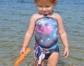 Baby Bathing Suit Galaxy Print Wrap Around Swimsuit One Wrap Toddler Girls Swimwear Infant Swimming Costume