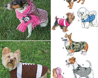 """Simplicity Pattern 1039 Dog Clothes, Hood and Scarf Sizes S-L: 8""""-18"""" Back Length NEW"""