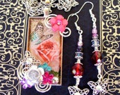 Fancy Pendant and Earring Set (S525) - Vintage Butterfly and Rose Art Under Resin - Dangle Earrings - Swarovski Crystals and Florals