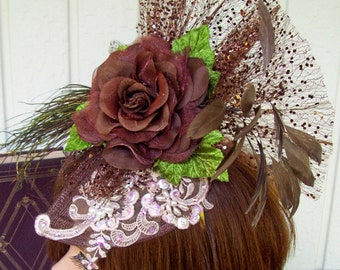 Fascinator (F612) Ascot Derby, Derby Races Hat, Brocade Applique, Feathers, Silk Flowers, Sequins, Beads and Swarovski Crystals