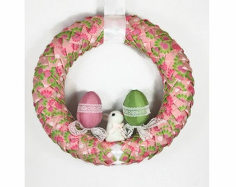 Easter Spring Ribbon Door Wreath, Wreath for Front Door, Small Wreath, Green Door Wreath, Easter Decor, Spring Decor, Spring Door Wreath