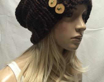 Knit Slouchy Hat Beanie Oversized Brown With Wood Buttons Cozy And Warm