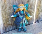 Fairy Doll - Tooth Fairy - Warrior Princess - Fairy Princess - Bendy Doll - Waldorf Doll - Fairy - Blue - Gray - Blonde Hair - OOAK