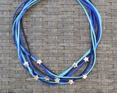 Blue necklace,statement necklace,stars necklace,stars choker,stars bib,blue stars necklace,suede choker,suede necklace,beaded necklace