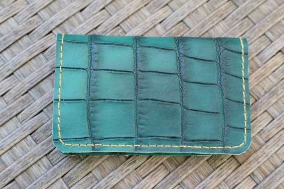 Mens wallet,leather wallet,alligator wallet,alligator leather,green wallet,green alligator wallet,green alligator,cards holder,ooak