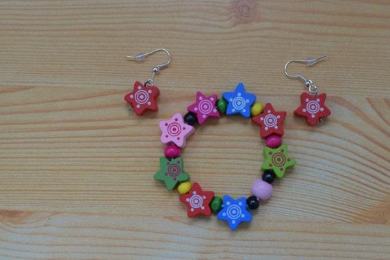 Girls set,girls bracelet,stars bracelet,girls earrings,children bracelet,stars bangle,girls jewelry set,girl bracelet,girl earrings
